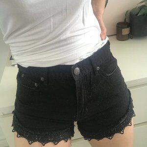 Free People Lacy Denim Cutoff Shorts